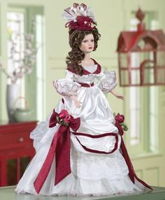 Burgundy Rose Collectible Porcelain Doll