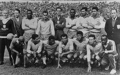 The Brazilian football team before the World Cup final in Santiago, Chile. Brazil took the Jules Rimet World Cup trophy for the second successive time with a victory over Czechoslovakia. World Cup Teams, Fifa World Cup, World Football, Football Team, Brazil Line Up, Chile, World Cup Trophy, England Players, The Last Laugh
