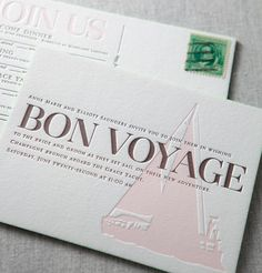 nautical response postcard / Yountville letterpress wedding invitation by @Dauphine Press in shell pink and espresso brown with kelly green painted edges
