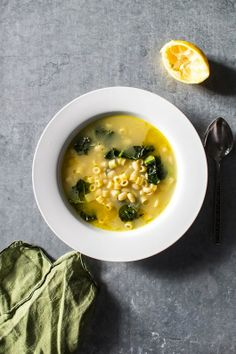 Lemony Soup with White Beans, Kale, and Pasta via Flourishing Foodie