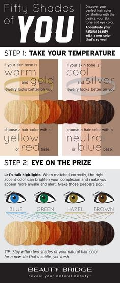 And also which hue matches your skin tone. | 29 Must-See Charts That'll Help You Have The Best Hair Of Your Life