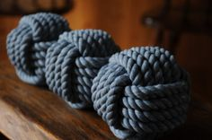 Items similar to Nautical Decor - 3 Monkey Fist Rope Knots on Etsy Monkey Fist Knot, Rope Knots, Paracord, Bedroom, Unique Jewelry, Handmade Gifts, Diy, Blue, Vintage