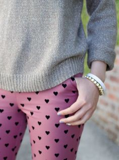 <3 heart print pants <3 spring style because short sleeves and flowery dresses are just too cold in the pnw