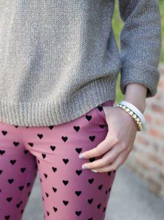 heart print pants