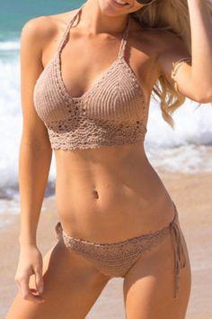 khaki crochet bikini