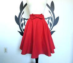 Red Bow Circle Skirt - Bright, Full, Vintage Inspired, Swing, Circle Skirt. $45.50, via Etsy.