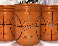 Basketball Birthday Decor. Basketball Utensil Holder. Basketball Home Decor. Basketball Party. Basketball Mason Jar. Basketball Banquet