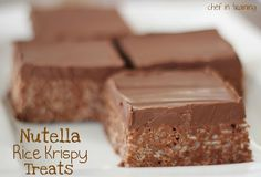 Nutella rice crispy treats.  Look awesome, and I must say...these could turn into a gloppy mess and they would still be awesome! Nutella is that good!