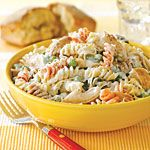 Creamy Lemon Pasta with Chicken Recipe | MyRecipes.com. My mom made it and it was super yummy!!!