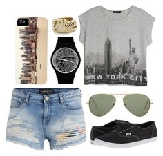 """Welcome to New York"" by irdina-n ❤ liked on Polyvore featuring MANGO, Ray-Ban, Vans, May28th, Snash Jewelry, Enkel Dika, NYC and pizza"