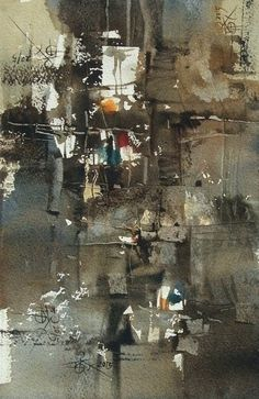 """Chien Chung-Wei """"4 pieces of abstract painting """"...Chien's workshop demo in Mexico , 18 x 27 cm."""