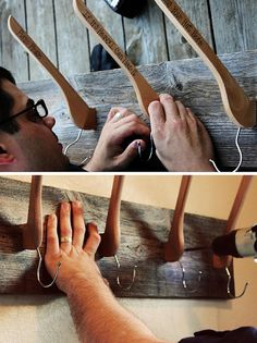 DIY hat rack and coat hanger. Made from a piece of scrap wood and wooden clothes hangers.