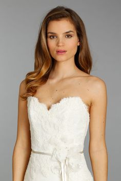 Style AV9360 > Bridal Gowns, Wedding Dresses > by Alvina Valenta > Shown Ivory Silk Organza gown with Ivory French Alencon Lace dropped waist bodice & Satin Ribbon with Jewelled Flower detail at waist (close up)