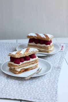 Raspberry mille feuille with home made puff pastry