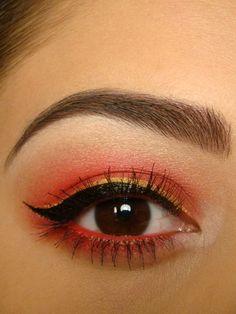 Red Eyeshadow, Gold Eyeliner