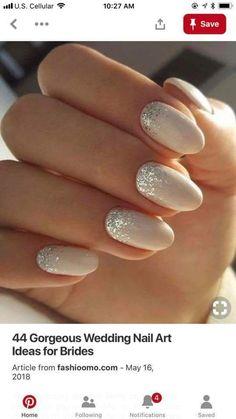 Simple Wedding Nails, Wedding Manicure, Wedding Nails For Bride, Bridal Nails, Nail Design Spring, White Glitter Nails, Diamond Nails, Elegant Bride, Super Nails