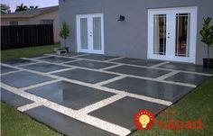 Diy Concrete Patio Pavers - Create A Stylish Patio With Large Poured Concrete Pavers Create A Stylish Patio With Large Poured Concrete Pavers Diy Backyard Patio Part 2 Budget Bac. Concrete Patios, Large Concrete Pavers, Poured Concrete Patio, Concrete Patio Designs, Gravel Patio, Outdoor Pavers, Stamped Concrete, Diy Patio, Backyard Patio