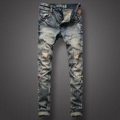>> Click to Buy << Nostalgia Retro Design Men Jeans High Quality Slim Fit Frayed Hole Ripped Jeans For Men Vintage Wash Skinny Biker Jeans Pants #Affiliate