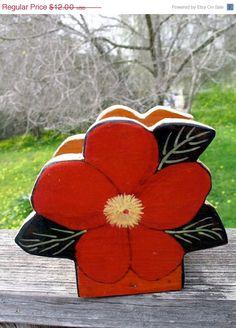On SALE Frida KAHLO Kitchen Handmade Wooden Flower Napkin Holder Shabby Chic Mexican Decor. $8.40, via Etsy.