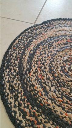Braided plastic bag rug