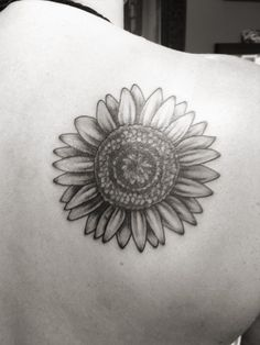 Sunflower tattoo on right shoulder blade-