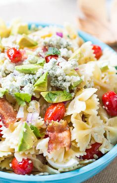 I think it had too much blue cheese. I'd cut back on the crumbles. Cobb Pasta Salad with bacon, blue cheese crumbles and avocado Fun Pasta, Cooking Avocado, Blue Cheese Recipes, Cooking Recipes, Healthy Recipes, Healthy Salads, Easy Cooking, Yummy Recipes, Think Food