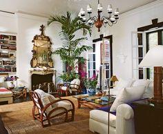 """Ralph Lauren """"High Rock"""" home overlooking Montego Bay features vintage style rattan from the Lauren furniture line."""