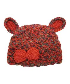 Loving this Orange Rabbit Ear Crochet Beanie on #zulily! #zulilyfinds