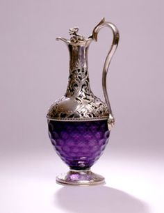 Victorian Silver Mounted Amethyst Coloured Glass Claret Jug - London, England  c. 1838  -  Reily & Storer