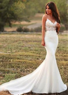 Magbridal Junoesque Tulle & Chiffon Spaghetti Straps Neckline Mermaid Wedding Dresses With Lace Appliques