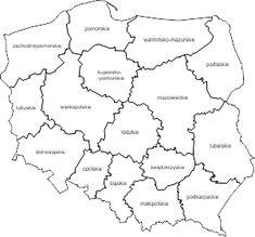 Mapa Polski województwa z napisami