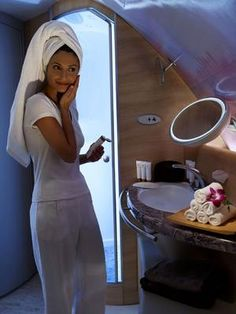 First class on board the Emirates A380 features two fully equipped bathrooms, including shower facilities