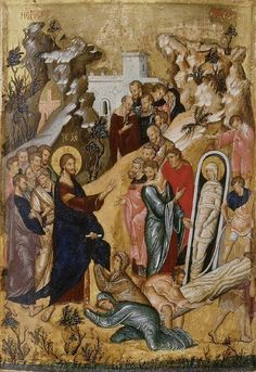 Icon of The Raising of Lazarus Byzantine School The Ashmolean Museum of Art and Archaeology Religious Images, Religious Icons, Religious Art, Byzantine Icons, Byzantine Art, Raising Of Lazarus, Christian Artwork, Religion Catolica, Art Icon