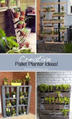 Creative Pallet Planter Ideas!  I like the one on the top right.