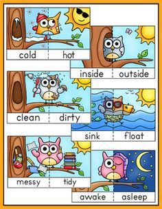 Antonyms game tiles posters and flash cards owl theme owl educational games and activities that make learning fun math and language activities decor classroom management hundreds of engaging products to meet m4hsunfo