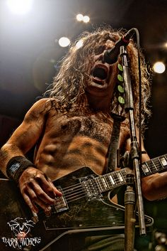 Joel O'Keeffe from the Aussie band Airbourne. He is wild to watch on stage. Check em out.