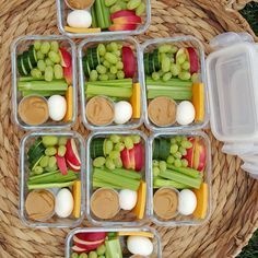Prep a few lunches + snacks for your week ahead & you'll eat better + actually save time! {Copycat Starbucks Protein Bistro Box} . Pin it! http://cleanfoodcrush.com/protein-bistro-boxes/ . These little bento/bistro boxes are great for kids, & their moms! I used glass containers because I love the way glass stores food...but use what you have. :) Here are some ideas/options to get you going: 1 or 2 hard boiled eggs 2 Tbsp all-natural nut butter, OR hummus Celery sticks, snow peas, or carro...