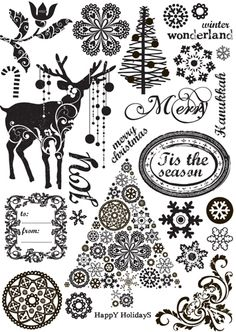 Prima - North Country Collection - Christmas - Cling Mounted Rubber Stamps