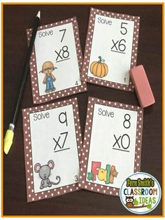 FOUR #FREE task cards in the preview! Fall Single Digit Multiplication Task Cards, Recording Sheets and Answer Keys Perfect for Back to School and Autumn Scout, Centers and Homework! #TPT $Paid