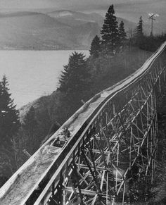 Riding the Broughton lumber flume boat. The Broughton lumber flume dominated the hillside between the towns of Willard and Hood in the State of Washington for over seventy years.