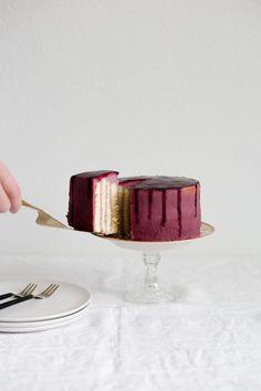 Lemon berry stripe cake
