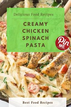 Creamy Chicken Spinach Pasta  This tastes love it's from a eating place. Ahhh…tune to my meals blogging ears. Of direction you can also use any kind of pasta that you need for this meal, my husband simply happens to be a penne kinda guy.  #easycrockpotmeals #crockpotchicken #crockpotchickenrecipes #BestFood Best Chicken Recipes, Chicken Salad Recipes, Creamy Chicken Spinach Pasta, Good Food, Yummy Food, Penne, Places To Eat, A5, Blogging