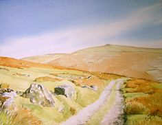 Watercolour painting of Dartmoor 'Track to the Erme'