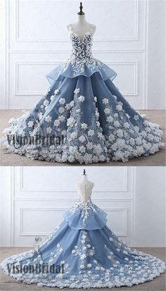 Blue Princess flower applique chiffon Wedding Dress, V-Back Regular Straps With Trailing Wedding Dress, Wedding Dresses, VB0263 #weddingdresses