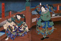 Yoshitaki Utagawa / Ushiwakamaru und Benkei auf der Gojo no hashi