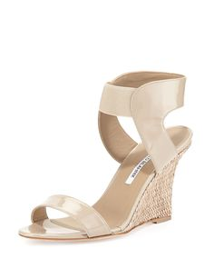 Pepe Patent Leather and Raffia Ankle-Wrap Wedge, Beige by Manolo Blahnik at Neiman Marcus. Cute Shoes, On Shoes, Neiman Marcus, Shoe Room, Manolo Blahnik Heels, Dream Shoes, Wedge Sandals, Sexy Sandals, Shoes Sandals