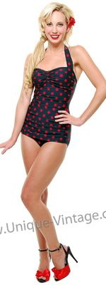 I LOVE these vintage swimsuites!!! Vintage Swimsuit 50's Style Pin Up BLACK with Red Polka Dot Bathing Suit