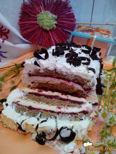 Recept za Belu tortu sa višnjama. Za spremanje poslastice neophodno je pripremiti belanca, šećer, sirće, žumanca, mlevenu plazmu, čokoladu, margarin, mleko, višnje, gustin, šlag.