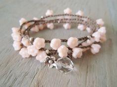 Pink crochet necklace triple wrap bracelet anklet 'Bohemian Bouquet', baby pink, Thai Silver flower dangle, shabby boho chic. $67.00, via Etsy.