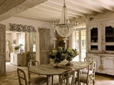 39 Amazing Shabby Chic Dining Room Design: 39 Amazing Shabby Chic Dining Room Design With White Wooden Wall Beams And Chandelier And Round Wooden Dining Table Chair And Cabinet And Stone Floor Style Cottage, French Country Cottage, Country Chic, Cottage Chic, Shabby Cottage, Romantic Cottage, Cottage House, Cottage Living, Farm House